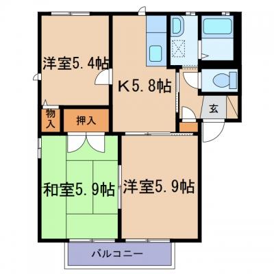 玉島「アニマートB」 3K 賃料¥50,000