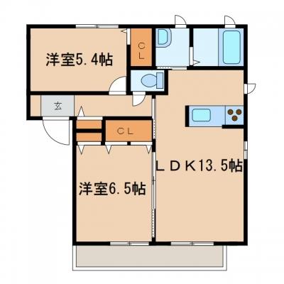 玉島八島「ビットミストラルC」 2LDK 賃料¥61,000
