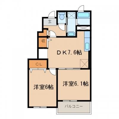 【新築】福田町古新田「サンリットのぞみ」 2DK 賃料¥50,000