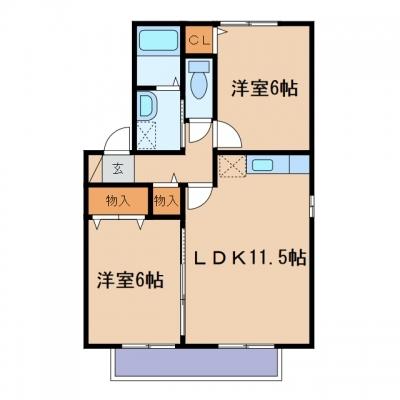 金光町占見新田「メルキュール」 2LDK 賃料¥57,000
