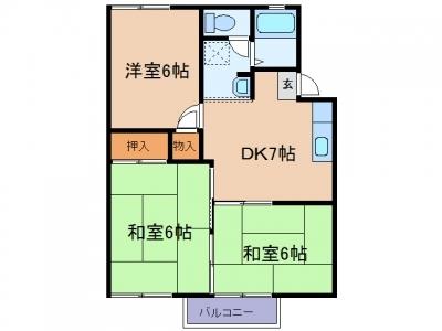 玉島乙島「パレスタキザワ」 3DK 賃料¥43,000