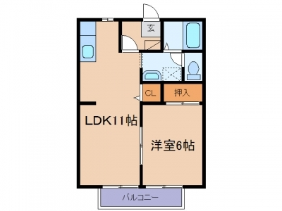 玉島阿賀崎「サンビレッジ阿賀崎」 1LDK 賃料¥42,000