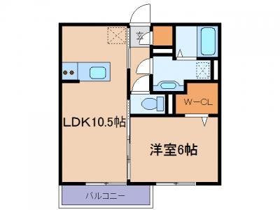 玉島上成「プルミエール」 1LDK 賃料¥57,000