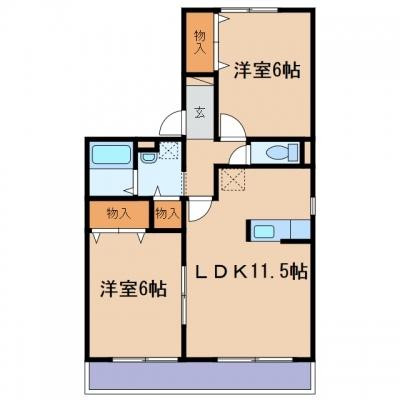 玉島八島「ウィルモア」 2LDK 賃料¥52,000