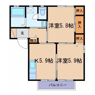玉島上成「ピュアライフ」 2K 賃料¥45,000