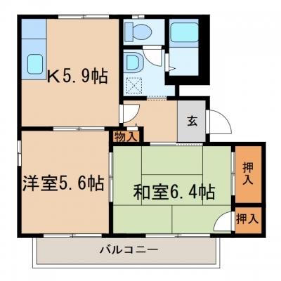 玉島長尾「エクセルヴィオラ」 2K 賃料¥46,000
