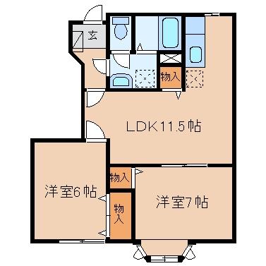 新倉敷駅前4丁目「プレッソカルティエB」 2LDK 賃料¥59,500