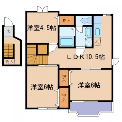 新倉敷駅前4丁目「プレッソカルティエ」 3LDK 賃料¥62,500