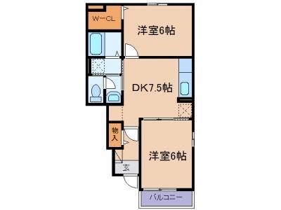 玉島2丁目「アマービレ」 2DK 賃料¥52,000