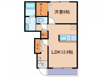鴨方町鴨方「ファミールC」 1LDK 賃料¥52,500