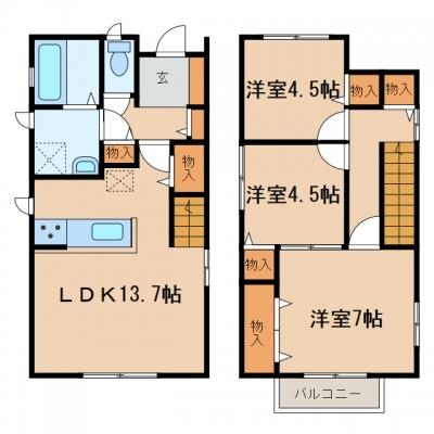 玉島上成「ベルク」 3LDK 賃料¥94,000