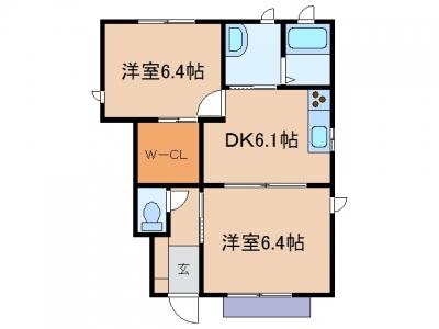 玉島爪崎「グレースコート」 2DK 賃料¥59,000