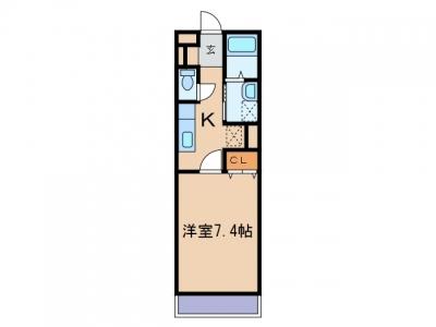 玉島上成「彩」 1K 賃料¥37,000