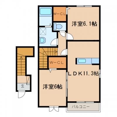 玉島黒崎新町「アンスリールB」 2LDK 賃料¥51,000
