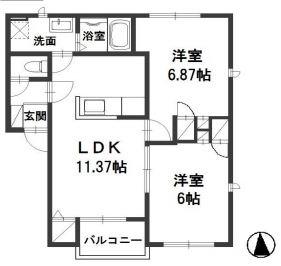 笠岡市入江「ヴィラ入江」 2LDK 賃料¥60,000